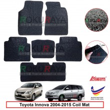 Toyota Innova AN40 (1st Gen) 2004-2015 12mm Custom Fit Pre Cut PVC Coil Floor Mat Anti Slip Carpet Nail Spike (Black) (Kawata Made in Malaysia)