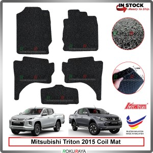 Mitsubishi Triton (5th Gen) 2015 12mm Custom Fit Pre Cut PVC Coil Floor Mat Anti Slip Carpet Nail Spike (Black) (Kawata Made in Malaysia)