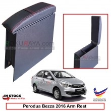 Perodua Bezza 2016 4' Plywood PVC Armrest Center Console Box (Sponge+Redline)