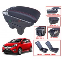 Perodua Axia 2014 Custom Fit Multi Purpose USB Chrome Redline Leather Arm Rest Center Console Box