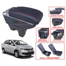 Perodua Bezza 2016 Custom Fit Multi Purpose USB Chrome Redline Leather Arm Rest Center Console Box