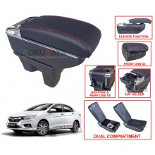 Honda City (6th Gen) 2013 Custom Fit Multi Purpose USB Chrome Redline Leather Arm Rest Center Console Box