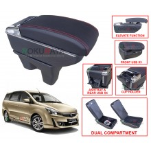 Proton Exora 2009 Custom Fit Multi Purpose USB Chrome Redline Leather Arm Rest Center Console Box