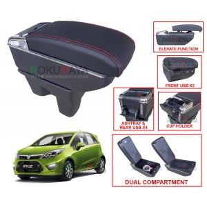 Proton Iriz 2014 Custom Fit Multi Purpose USB Chrome Redline Leather Arm Rest Center Console Box
