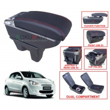Mitsubishi Mirage (6th Gen) 2012 Custom Fit Multi Purpose USB Chrome Redline Leather Arm Rest Center Console Box