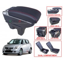 Suzuki Swift (2nd Gen) 2005 Custom Fit Multi Purpose USB Chrome Redline Leather Arm Rest Center Console Box