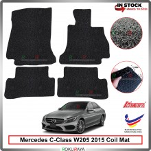 Mercedes C-Class W205 2015 12mm Custom Fit Pre Cut PVC Coil Floor Mat Anti Slip Carpet Nail Spike (Black) (Kawata Made in Malaysia)