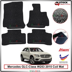 Mercedes GLC-Class W253 2015 12mm Custom Fit Pre Cut PVC Coil Floor Mat Anti Slip Carpet Nail Spike (Black) (Kawata Made in Malaysia)