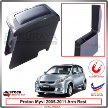 Perodua Myvi (1st Gen) 2005-2011 4' Plywood PVC Armrest Center Console Box Magnetic (Carbon)