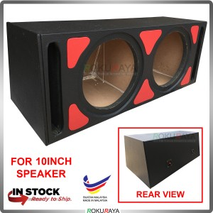 10'' 2Hole Double PVC Sub Woofer Speaker Hot Box Mixture 6' and 4' Thickness Plywood (Red)