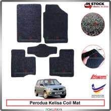 Perodua Kelisa 12mm Custom Fit Pre Cut PVC Coil Floor Mat Anti Slip Carpet Nail Spike (Black) (Kawata Made in Malaysia)