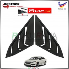 Honda Civic FC (10th Gen) 2016 Mustang Rear Triangle Side Window Cover Louvre (Matt Black)