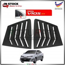Toyota Vios Facelift 2019 Mustang Rear Triangle Side Window Cover Louvre (Matt Black)