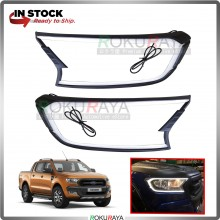 Ford Ranger T6 T7  Front Head Lamp Cover Trim Garnish Matt Black Finish With LED Light Bar