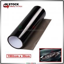 (180cm x 30cm) 3ply Car Motorcycle Tint Fog Head Lamp Brake Tail Light Vinyl Film Sticker Wrap (Light Black)