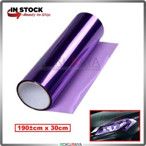 [30CM x 100CM] 3ply Car Motorcycle Tint Fog Head Lamp Brake Tail Light Vinyl Film Sticker Wrap (Purple)