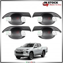 Mitsubishi Triton Facelift 2019 Door Handle Cover Garnish Trim ABS Plastic (MATT BLACK BOWL)