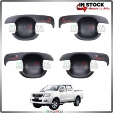 Toyota Hilux Vigo 2005-2015 Door Handle Cover Garnish Trim ABS Plastic (MATT BLACK BOWL)