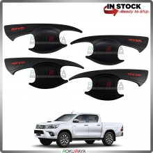 Toyota Hilux Revo 2016 Door Handle Cover Garnish Trim ABS Plastic (MATT BLACK BOWL)