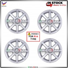 4in1 Universal R14'' Inch Car Wheel Cover Tyre Center Hub Cap Steel Rim (Saga2 Lmst Design)