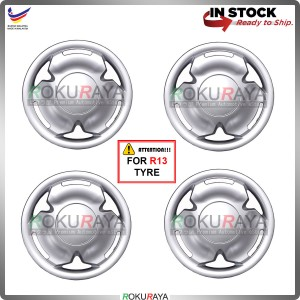 4in1 Universal R13'' Inch Car Wheel Cover Tyre Center Hub Cap Steel Rim (Saga Design)