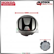 Honda 58mm Diameter Original Genuine Part Sport Rim Center Wheel Cap Cover (BLACK SILVER)