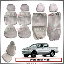 Toyota Hilux Vigo 2004-2015 Cool Leather Coolmax Custom Fitting Cushion Cover Car Seat (Biege)