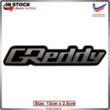 GREDDY (13cm x 2cm) Automobile Car Rear Back Emblem Logo Chrome Badge
