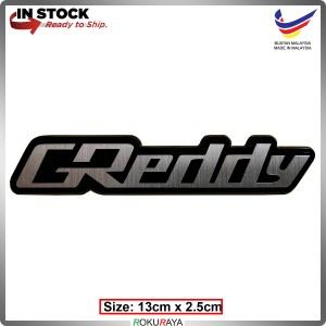 GREDDY (13cm x 2cm) Automobile Car Rear Back Emblem Logo Chrome Badge