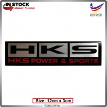 HKS (12cm x 3cm) Automobile Car Rear Back Emblem Logo Chrome Badge