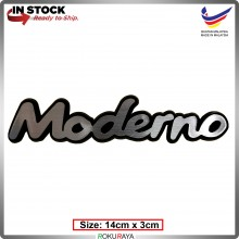MODERNO (14cm x 3cm) Automobile Car Rear Back Emblem Logo Chrome Badge