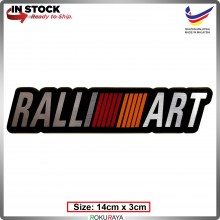 RALLIART (14cm x 3cm) Automobile Car Rear Back Emblem Logo Chrome Badge