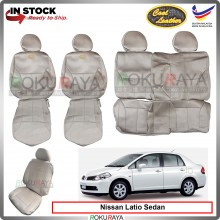 Nissan Latio Sedan 1.8 Cool Leather Coolmax Custom Fitting Cushion Cover Car Seat (Biege)