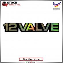 12VALVE (15cm x 2cm) Rainbow Epoxy Automobile Car Rear Back Emblem Logo Chrome Badge