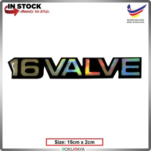 16VALVE (15cm x 2cm) Rainbow Epoxy Automobile Car Rear Back Emblem Logo Chrome Badge