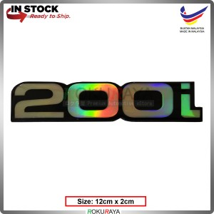 200i (12cm x 2cm) Rainbow Epoxy Automobile Car Rear Back Emblem Logo Chrome Badge