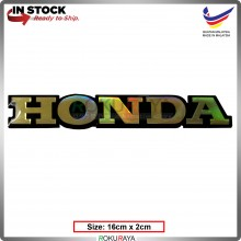 HONDA (16cm x 2cm) Rainbow Epoxy Automobile Car Rear Back Emblem Logo Chrome Badge