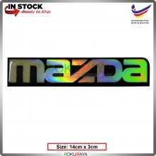 MAZDA (14cm x 3cm) Rainbow Epoxy Automobile Car Rear Back Emblem Logo Chrome Badge