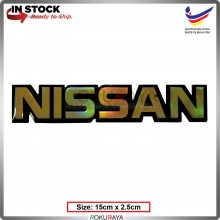 NISSAN (15cm x 2.5cm) Rainbow Epoxy Automobile Car Rear Back Emblem Logo Chrome Badge