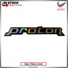 PROTON  (19cm x 3cm) Rainbow Epoxy Automobile Car Rear Back Emblem Logo Chrome Badge