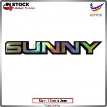 SUNNY (17cm x 2cm) Rainbow Epoxy Automobile Car Rear Back Emblem Logo Chrome Badge