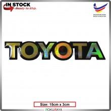 TOYOTA (15cm x 3cm) Rainbow Epoxy Automobile Car Rear Back Emblem Logo Chrome Badge