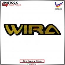 WIRA (14cm x 2.5cm) Gold Epoxy Automobile Car Rear Back Emblem Logo Chrome Badge