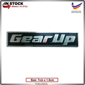GEAR UP (7cm x 1.5cm) Stainless Steel Chrome Automobile Car Rear Back Emblem Logo Chrome Badge