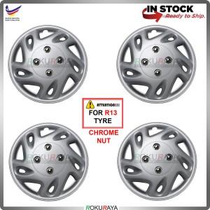 4in1 Universal R13'' Inch Car Wheel Cover Tyre Center Hub Cap Steel Rim (Perodua Chrome Nut)