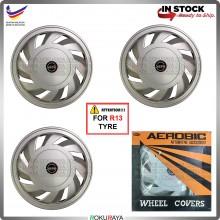 [AEROBICS] 4in1 Universal R13'' Inch Car Wheel Cover Tyre Center Hub Cap Steel Rim Car Accessories Local Parts