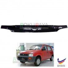 Perodua Kancil Old Square Head Lamp (1994-2000) Front Hood Protector Bonnet Bug Visor Guard Cover With Brackets And Clips (Black)