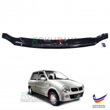 Perodua Kancil New Round Head Lamp (2002-2009) Front Hood Protector Bonnet Bug Visor Guard Cover With Brackets And Clips (Black)