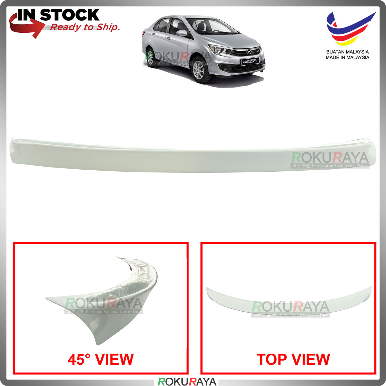 Perodua Bezza 2016 Ducktail ABS Plastic OEM Rear Bonnet